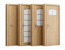 Quatro portas de madeira isoladas no branco Fotografia de Stock