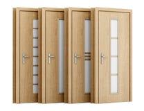 Quatro portas de madeira isoladas no branco Fotos de Stock