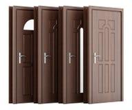 Quatro portas de madeira isoladas no branco Imagens de Stock Royalty Free