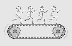 Quatro povos na escada rolante Fotografia de Stock