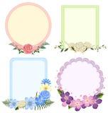 Quatro projetos de quadros da flor em formas diferentes Fotografia de Stock