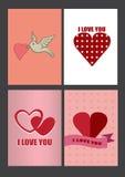 Quatro projetos para cartões e cartazes do dia de Valentim Fotos de Stock Royalty Free