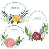 Quatro quadros florais com lugar para o texto ilustração do vetor