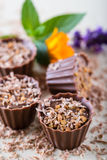 Quatro queques do chocolate na placa branca com cor florescem Foto de Stock