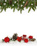 Quatro-quintos brancos dos flocos de neve do quadro do Natal Fotografia de Stock Royalty Free