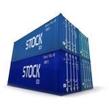 Quatro recipientes de carga azuis Imagens de Stock Royalty Free