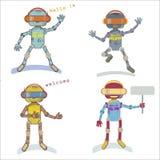 Quatro robôs do estilo Imagens de Stock