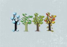 Quatro árvores da estação Fotografia de Stock Royalty Free