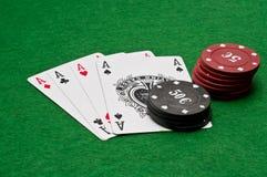 Quatro ás - combinação da vitória Imagens de Stock Royalty Free