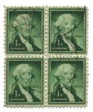 Quatro selos de porte postal velhos dos EUA um centavo Fotos de Stock Royalty Free