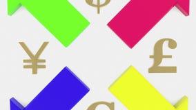 Quatro setas com quatro sinais do dinheiro ilustração royalty free
