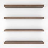 Quatro shelfs de madeira foto de stock
