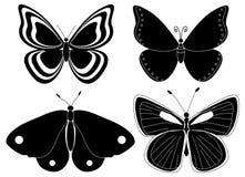 Quatro silhuetas da borboleta Fotografia de Stock