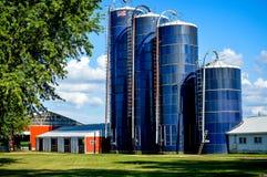 Quatro silos azuis do celeiro em uma exploração agrícola fotos de stock