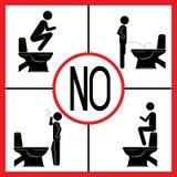 Quatro sinais de aviso usam o toalete ilustração do vetor