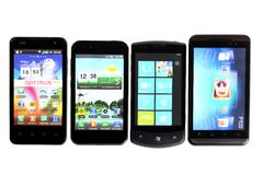 Quatro smartphones Fotos de Stock