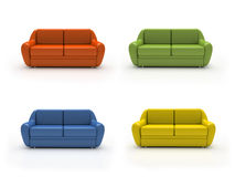 Quatro sofás coloridos isolados no fundo branco Imagens de Stock
