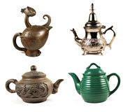 Quatro teapots Fotografia de Stock
