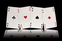 Quatro ternos dos cartões de jogo dos ás Foto de Stock Royalty Free