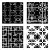 Quatro testes padrões preto e branco do vetor Fotos de Stock