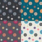 Quatro testes padrões sem emenda do botão colorido Imagem de Stock