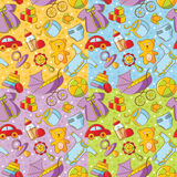 Quatro testes padrões sem emenda dos bens do bebê do Doodle Imagens de Stock Royalty Free