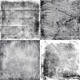 Quatro texturas preto e branco do grunge ilustração stock