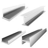 Quatro tijolos do aço inoxidável no branco Fotos de Stock Royalty Free