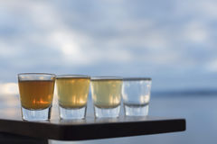 Quatro tipos de tiros do tequila alinharam na plataforma do beira-mar Foto de Stock