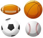 Quatro tipos diferentes das bolas ilustração stock