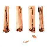 Quatro varas de canela isoladas no branco Imagens de Stock