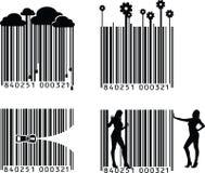 Quatro variações do código de barras Fotos de Stock