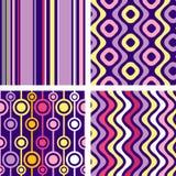 Quatro versões de testes padrões sem emenda retros Imagens de Stock Royalty Free