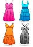 Quatro vestidos coloridos Funky. Vetor Ilustração Royalty Free