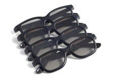 Quatro vidros 3d, alinhados, no branco Fotos de Stock Royalty Free