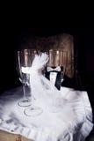 Quatro vidros cerimoniosos do casamento Foto de Stock Royalty Free