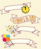 Quatro Year's novo Eve Ribbons Imagens de Stock Royalty Free