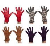 Quattro accoppiamenti dei guanti differenti del `s delle donne fotografia stock libera da diritti