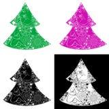 Quattro alberi di Natale Fotografie Stock Libere da Diritti