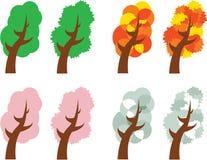 Quattro alberi di stagioni Fotografia Stock
