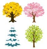Quattro alberi di stagioni Fotografia Stock Libera da Diritti