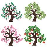 Quattro alberi su priorità bassa bianca Fotografia Stock