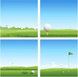 Quattro ambiti di provenienza di golf Fotografia Stock
