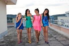 Quattro amici felici Fotografie Stock
