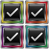 Quattro assegni sui quadrati Fotografia Stock Libera da Diritti