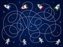 Quattro astronauti e veicoli spaziali quattro stanno galleggiando nello spazio aperto con le stelle Dipani i tubi flessibili ed i Fotografia Stock Libera da Diritti