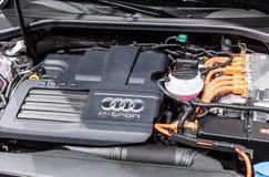 Quattro Audis ETron Motor am IAA 2015 Stockbild