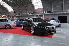 Quattro automobili sintonizzate: Audi A3, BMW 3, Subaru Impreza e Honda CRX Immagine Stock