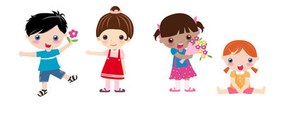 Quattro bambini e fiori Immagini Stock