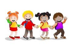 Quattro bambini vanno al banco Fotografie Stock Libere da Diritti